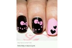 ¿Cómo decorar tus uñas con Hello Kitty? (Tutorial) | Vibra Hello Kitty Rosa, Hello Kitty Nails, Black Nail Designs, Cute Nail Designs, Pink Nail Art, Pink Nails, Cat Nails, Black Accents, Black Heart