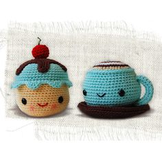 Häkelanleitung Mr. Coffee and Miss Cupcake // Crochet pattern Mr. Coffee and Miss Cupcake by sanda via DaWanda.com