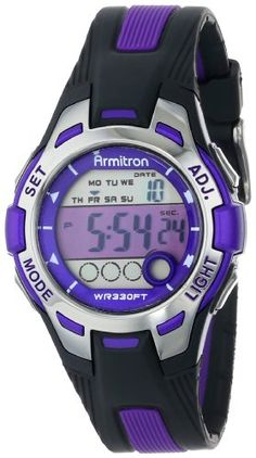 09b05e073c6 online shopping for Armitron Sport Women s Purple Accented Black Resin  Strap Digital Chronograph Watch from top store. See new offer for Armitron  Sport ...