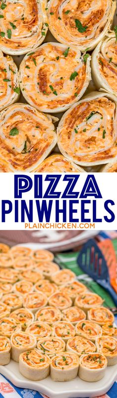 Pizza Pinwheels - I am ADDICTED to these sandwiches! Cream cheese, pizza sauce, mozzarella cheese and pepperoni wrapped in a tortilla. Can make ahead of time and refrigerate until ready to eat. Perfect for parties and tailgating!!