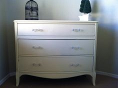 Bow front yellow dresser
