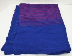 "British Airways Blanket Royal Blue Red Stripes 49"" x 69"""