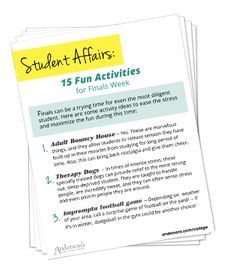 15 Fun Activities for Finals Week Finals can be a trying time for even the most diligent student. In this pdf are some activity ideas to ease the stress and maximize the fun during this time. You may (Try New Activities) College Icebreakers, College Activities, Group Therapy Activities, Leadership Activities, Fun Activities, College Event Ideas, College Fun, Student Stress, Student Life