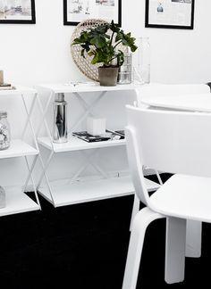 Solid black floor, pure white design