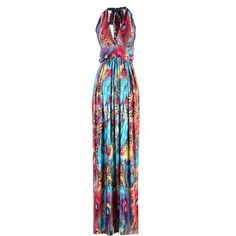 Elegant V-Shape Peacock Printed Maxi Dress - Blue
