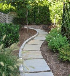 http://www.landscape-design-advice.com/stone-walkways.html An inexpensive stone walkwayr idea using geometric bluestones.