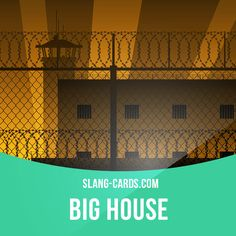 """""""Big house"""" means a high-security prison. Example: After he got caught robbing a bank, Ted was sent to the big house for 20 years. #slang #englishslang #saying #sayings #phrase #phrases #expression #expressions #english #englishlanguage #learnenglish #studyenglish #language #vocabulary #dictionary #grammar #efl #esl #tesl #tefl #toefl #ielts #toeic #englishlearning #bighouse #prison"""