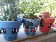 Pokemon Go Inspired DIY Projects! – Just Imagine – Daily Dose of Creativity Pokemon Flower Pot Diy Pokemon, Festa Pokemon Go, Pokemon Decor, Pokemon Room, Pokemon Party, Pokemon Birthday, Clay Pot Crafts, Crafts To Make, Craft Projects