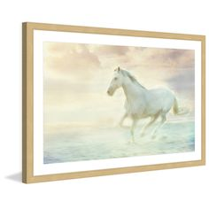 Marmont Hill 'Galloping Through the Water' Framed Painting Print