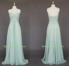 Green Mint long Bridesmaid dress simple evening dress wedding party dress chiffon 1556 from SpecialDayDress on Etsy. Saved to FANCY DRESSES💗👌. Mint Colored Dresses, Mint Dress, Chiffon Dress, Ball Dresses, Flower Girl Dresses, Prom Dresses, Dress Prom, Dress Long, Wedding Party Dresses