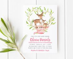 Woodland Baby Shower invitation, Our little deer is almost here! Click to see more invitations by lovelypapershop