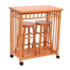 "Homcom 32"" Rolling Wooden Storage Cart Kitchen Trolley w/ Stools HOMCOM http://smile.amazon.com/dp/B00QFR2LNG/ref=cm_sw_r_pi_dp_.z1Rwb02GAYF1"