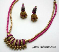 Diy wood ornaments simple 64 ideas for 2019 Fancy Jewellery, Thread Jewellery, Funky Jewelry, Handmade Jewelry, Ceramic Jewelry, Polymer Clay Jewelry, Necklace Set, Beaded Necklace, Teracotta Jewellery