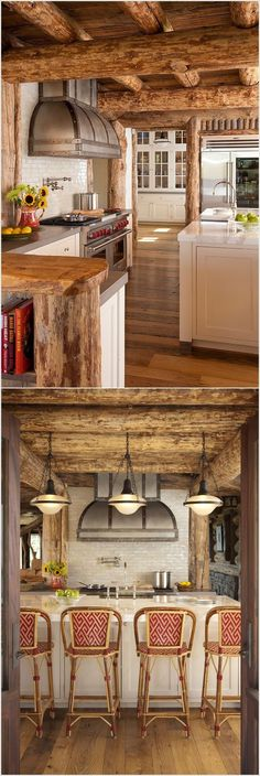 Beautiful log house kitchen interior https://www.quick-garden.co.uk/residential-log-cabins.html #LogHomeInteriors