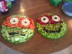 Ninja turtle themed fruit and veggie trays for my son's 7th birthday party. Veggie tray made with celery, carrots, olives, and ranch dip. Fruit trays made with green grapes, red apples, blackberries, and vanilla bean dip. June 7, 2014