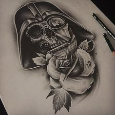 Darth Vader Skull Rose ⚡️⚡️blackshadowsclth.com #edwardmiller #tattoo #darthvader #worldwide #artist