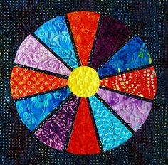 """Wagon Wheels block from """"Flip & Fuse Quilts"""" from C&T Publishing with Marcia Harmening of Happy Stash Quilts"""