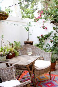 Class of wine on a romantic patio