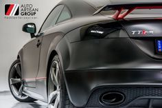 Wrapped by Auto Artisan. Audi TTRS customised vehicle wrap using Avery Supreme Wrapping film Black Stain -197 , Charcoal Matte Metallic - 845 and Carmine Red - 438 . Also features new Foliatec black chrome exhaust spray.