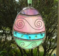 Stained Glass Ornate Pastel Colored Easter Egg by MoreThanColors
