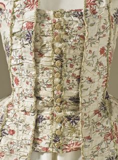 Woman's Robe à la Française, ca. 1770, French; Cotton plain weave, block-printed and dye-painted, with silk passementerie