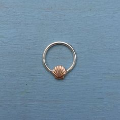 Seashell Septum Ring Solid 9ct Rose gold and by AliceRubyStudio