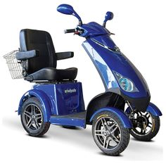 E-Wheels EW-72 4-Wheel Electric Senior Mobility Scooter - Blue - Motorized Scooters - MaxiAids  The E-Wheels EW-72 4 Wheel Scooter is the first high-speed performance scooter capable of reaching speeds up to 15 miles per hour. It has 4 wheels for maximum stability and a weight capacity of 500 lbs.