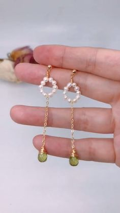 The most attractive thing about DIY is to discover the beauty that others ignore, love life, and create beauty with your own hands. DIY beautiful creative earrings ring necklaces and much more, just simple tools and materials can make you different! Beaded Earrings, Earrings Handmade, Pearl Earrings, Pearl Jewelry, Simple Earrings, Simple Jewelry, Make Jewelry, Jewelry Crafts, Diy Beaded Rings