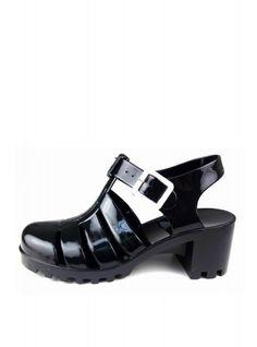 Black Glitter Heeled Jelly Shoes | Glamorous
