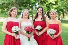 Linda Ovist, Bellaire Photography, Country Club Wedding, Bride and Bridesmaids, Amaryllis and Baby Breathe bouquets