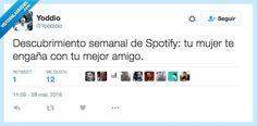 Spotify sí que es un buen amigo... por @Yodddio   Gracias a http://www.vistoenlasredes.com/   Si quieres leer la noticia completa visita: http://www.estoy-aburrido.com/spotify-si-que-es-un-buen-amigo-por-yodddio/