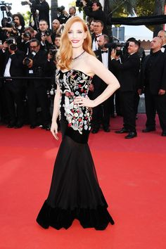 —The Best Red Carpet Looks From The 2017 Cannes Film Festival— Jessica Chastain looks amazing in this black Alexander McQueen dress
