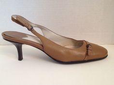 Aerosoles Shoes Womens Size 7.5 M Tan Slingbacks Leather 7 1/2 Winword #Aerosoles #Slingbacks #WeartoWork