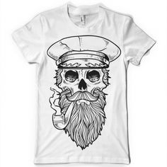 Sailor t-shirt design features a hand drawn sailor skull with beard, hat and smoking a pipe. This is an Adobe Illustrator file, ready for print. Custom Flags, Shirt Template, Sailor, Digital Prints, Custom Design, How To Draw Hands, Shirt Designs, Shirt Ideas, Illustration