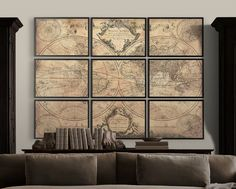 World Map Print Poster : L'Isle's 1720  Guillaume de L'Isle ' mappe monde ' 9 panel world map - similar to restoration hardware