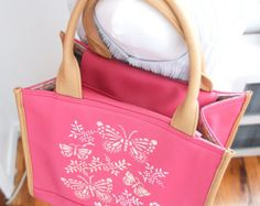 Lightweight tote bag handpainted and monogrammed handbag /document bag / carry all/ pink and tan only $54. enter coupon code FREESHIP50 for free shippping