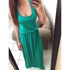 """CCO SALE ▪️Bright Green Racerback Maxi New without tag. Stunning bright green color! Racerback style and extremely soft / comfy. You will not want to take this off, ever! I am modeling the XS which is usually the perfect length for me.  ✖️ No Trades / Price firm  Please select your size at checkout! Use the """"buy now"""" or """"add to bundle"""" feature to purchase! Dresses Maxi"""