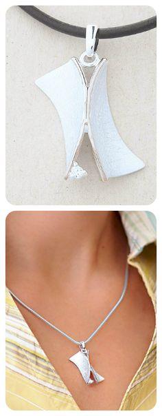 Necklace  || Botanic Garden Collection  ||  Sterling Silver, Cubic Zirconia  ||  Contemporary Modern Design  ||