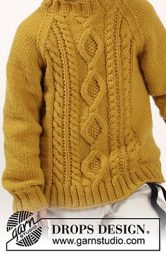Knitted DROPS jumper with raglan and cables in Merino Extra Fine. Size years Free knitting pattern by DROPS Design. Baby Boy Crochet Blanket, Baby Boy Knitting, Crochet Baby, Afghan Crochet Patterns, Baby Patterns, Knitting Patterns Free, Free Pattern, Bow Pattern, Free Knitting