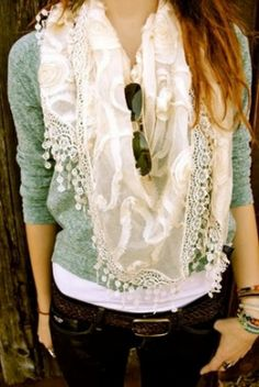 Dusty green sweater with white scarf and jeans