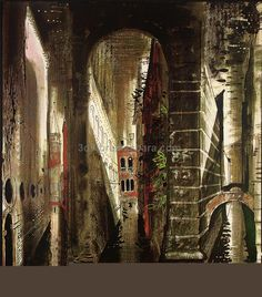 Title unknown (1972) from Death in Venice by British artist John Piper (1903-1992). Screenprint on paper. Set design for Benjamin Brittens opera. via the Tate