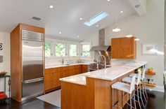 Bright kitchen with skylight