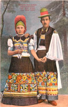 Illustration of woman and man in folk costume, Hungary, circa 1930-1937 :: Blanche Payne Regional Costume Photograph and Drawing Collection
