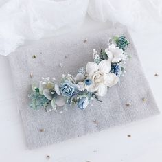 A stunning Dusky Blue Floral Vine perfect fro a Bride Lightweight and comfortable to wear must be secured with of your own hair pins to attach Flower Headpiece Wedding, Bridal Headpieces, Wedding Flowers, Wedding Dresses, Bridal Comb, Bridal Hair, Blue Bridal, Wedding Blue, Dream Wedding