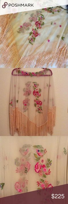 40's Vintage Piano Shawl Stunning 40's authentic Piano Shawl, Sheer netting with Embroidered flowers and peach fringe. Pancho style perfect for spring and festival! Collectible, one of a kind. Immaculate. Other