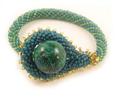 Chrysocolla Bead Crochet Bracelet