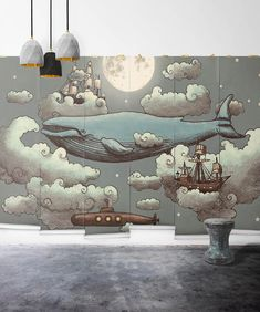 Kinderzimmer Ocean Meets Sky Mural Wallpaper, M & M Wandbilder Kids Room Murals, Bedroom Murals, Childrens Wall Murals, Nursery Wall Murals, Bathroom Mural, Ocean Mural, Ocean Ocean, Ocean Wallpaper, Wallpaper Ideas