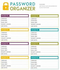 Need help remembering all your online passwords? Instead of using common passwords or the same password for several accounts, safeguard yourself by adding variation and recording them in this free printable password organizer. Organizing Paperwork, Planner Organization, Office Organization, Organising, Organizing Ideas For Office, Filing Cabinet Organization, Office Supplies List, File Folder Organization, Organizer Planner