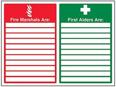 Cheap VSafety 13046BF-R Fire Equipment Sign Fire Marshals/First Aiders with Blanks Rigid Plastic Landscape 400 mm x 300 mm Green/Red deals week