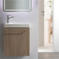 Meuble lave-mains complet couleur chêne avec mitigeur eau chaude/eau froide
